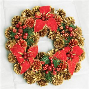 【クリスマス】35cm パインコーンリース ゴールド/レッド HL-H3505 - 拡大画像