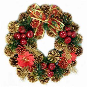 【クリスマス】35cm パインコーンリース ゴールド/レッド HL-H3504 - 拡大画像