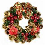 【クリスマス】35cm パインコーンリース ゴールド/レッド HL-H3504