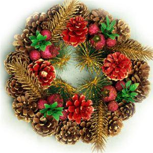 【クリスマス】23cm パインコーンリース ゴールド/レッド HL-H2310 - 拡大画像