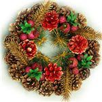 【クリスマス】23cm パインコーンリース ゴールド/レッド HL-H2310
