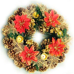 【クリスマス】27cm キャンドルスタンドリース ゴールド/レッド HL-H2756