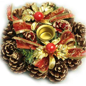 【クリスマス】15cm キャンドルスタンドリース ゴールド/レッド HL-H1534 - 拡大画像