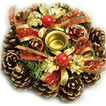 【クリスマス】15cm キャンドルスタンドリース ゴールド/レッド HL-H1534
