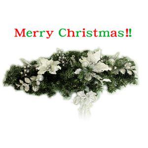【クリスマス】クリスマススワッグ(シルバー) C-11342