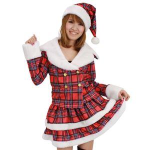 【クリスマスコスプレ 衣装】ドリーミングサンタ(チェック) - 拡大画像