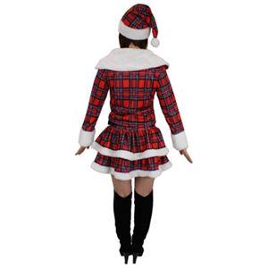 【サンタ衣装・2段フリル・長袖】ドリーミングサンタ(チェック柄)