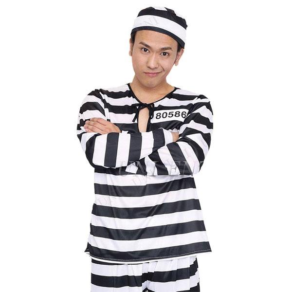 【囚人服コスプレ・白と黒の縞々】Patymo 囚人服