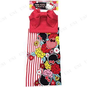 ストライプ牡丹キティ浴衣(結び帯付き2点セット)※ハンガー付き専用袋 レッド(RD)
