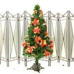 【クリスマス】120cm光ファイバーツリー(クリスマスツリー ポインセチア/赤・金) T401-120