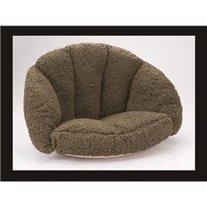 低反発腰すっぽり座れる毛布 カーキ - 拡大画像