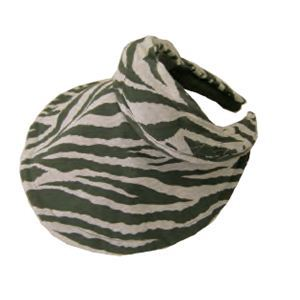 UVカット率99.8% UV対策 帽子になる機能付サンバイザー カーキゼブラ柄 - 拡大画像