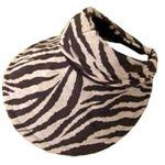 UVカット率99.8% UV対策 帽子になる機能付サンバイザー ブラウンゼブラ柄