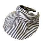 UVカット率99.8% UV対策 帽子になる機能付サンバイザー ネイビーストライプ