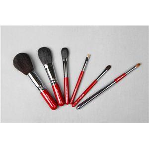 【熊野筆】竹宝堂製化粧筆 『アーティスト(ショート) Dセット(6本セット)』ケース赤