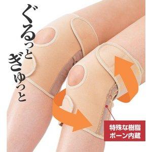 ひざの名医が開発!! 医療機関でも大絶賛 【かるがる膝ベルト(2枚入)】 ベージュ L/書籍セット『9割のひざの痛みは自分で治せる』 - 拡大画像
