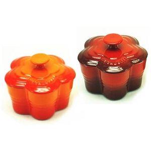 ル・クルーゼ (Le Creuset) ラムカンフルール S (フタ付き) ペアセット オレンジ&チェリーレッド(赤) - 拡大画像