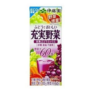 【まとめ買い】伊藤園 充実野菜 完熟ぶどうミックス 紙パック 200ml×48本(2ケース)