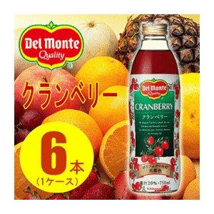 【まとめ買い】デルモンテ クランベリー20% 瓶 750ml×6本(1ケース)