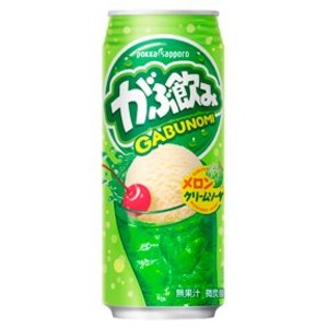 【まとめ買い】ポッカサッポロ がぶ飲み メロンクリームソーダ 500ml 缶 24本入り(1ケース) - 拡大画像