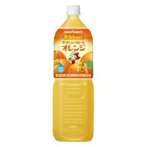【まとめ買い】ポッカサッポロ Ribbon やさしいフルーツ オレンジ 1.5L ペットボトル 16本入り(8本×2ケース)