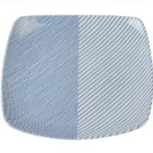 白山陶器 重ね縞 反角盛皿27×27cm