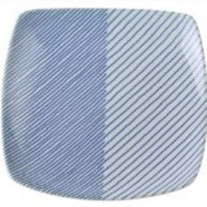 白山陶器 重ね縞 反角多用皿 21×21cm