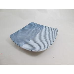 白山陶器重ね縞反角中皿16.5×16.5cm