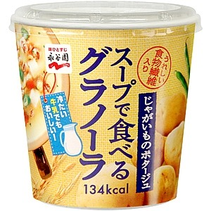 【まとめ買い】永谷園 スープで食べるグラノーラ じゃがいものポタージュ 32g×24カップ(6カップ×4ケース)
