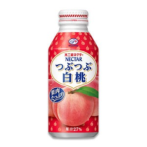 【まとめ買い】不二家ネクター つぶつぶ白桃 ボトル缶 380g 24本入り(1ケース)