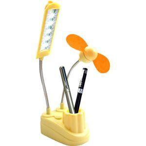 パソコンに繋ぐだけ USBミニ扇風機 USB扇風機 LEDランプとペン立て付き - 拡大画像