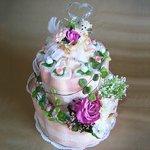 おむつケーキ(おむつ替えマットつき) ピンク Sテープ Gumdrop