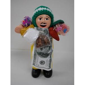 【エケコ人形15cm】金運の色黄色イエロー(黄色) 限定モデル女性に人気!(ペルー直輸入) - 拡大画像
