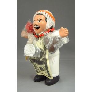 【エケコ人形15cm ペルー直輸入】ワイルーロのネックレス付、ホワイト(WHITE)VIVASスペシャル )