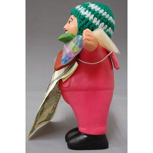 【エケコ人形18cm】L サイズのエケコ人形・色はピンク(もも色) 当店限定モデル(ペルー直輸入) - 拡大画像
