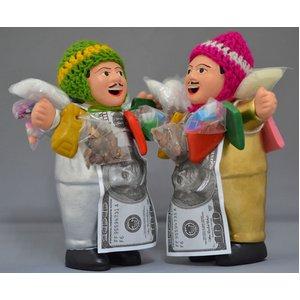 【エケコ人形15cm】光沢ゴールド(銀色) と光沢シルバー2体セット(ペルー直輸入) - 拡大画像