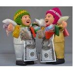 【エケコ人形15cm】光沢ゴールド(銀色) と光沢シルバー2体セット(ペルー直輸入)