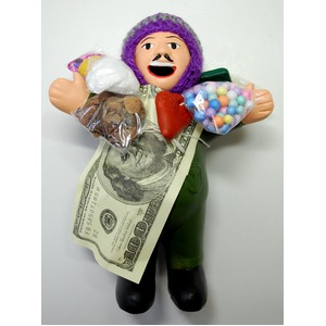 【エケコ人形19cm】L サイズのエケコ人形・色はグリーン(緑色) 当店限定モデル(ペルー直輸入) - 拡大画像