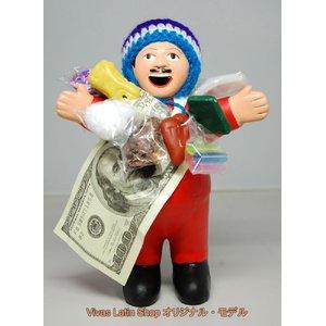 【エケコ人形19cm】 L サイズのエケコ人形・色はレッド(赤) 当店モデル(ペルー直輸入) - 拡大画像
