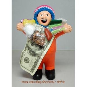 【エケコ人形19cm】 L サイズのエケコ人形・色はオレンジ(橙色) 当店モデル(ペルー直輸入) - 拡大画像