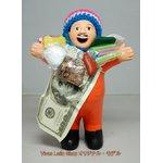 【エケコ人形19cm】 L サイズのエケコ人形・色はオレンジ(橙色) 当店モデル(ペルー直輸入)