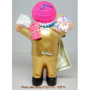 【エケコ人形19cm】 L サイズのエケコ人形・色はゴールド(金色) (ペルー直輸入)