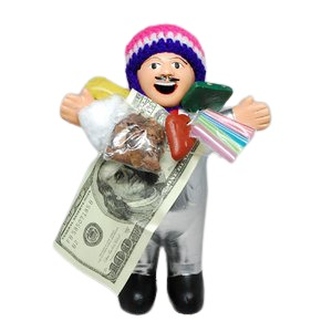 【エケコ人形19cm】 L サイズのエケコ人形・色はシルバー(銀色)(ペルー直輸入) - 拡大画像