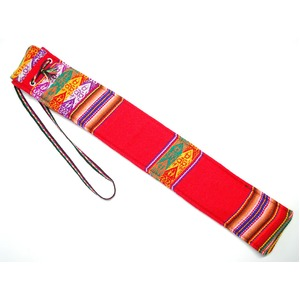 【QUENA SOFT CASE RED AGUAYO】民族楽器ケーナ用の布・ソフトケース アンデス織物のアワイヨ柄 レッド(赤)★ペルー製
