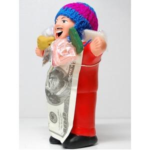 【エケコ人形18cm・タイプ2・赤】胴体の色は赤(レッド)「タバコをくわえさせてあげるとお礼に願い事が叶えてくれる!」と話題になった幸運人形。ペルー製の写真1