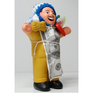 【エケコ人形18cm・タイプ2・芥子色】胴体の色はカラシ色(マスタード)「タバコをくわえさせてあげるとお礼に願い事が叶えてくれる!」と話題になった幸運人形。」ペルー製