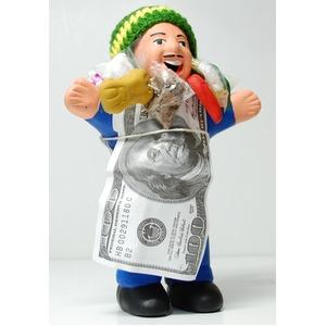 【エケコ人形18cm・タイプ2・青】胴体の色は青(ブルー)「タバコをくわえさせてあげるとお礼に願い事が叶えてくれる!」と話題になった幸運人形。」ペルー製