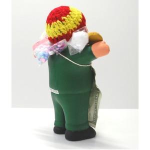【エケコ人形18cm・タイプ2・緑色】胴体の色は緑(グリーン)「タバコをくわえさせてあげるとお礼に願い事が叶えてくれる!」と話題になった幸運人形。」ペルー製