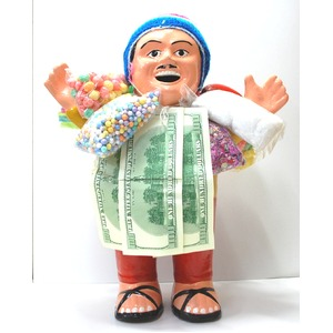 【特大エケコ人形35cm】ペルー製「現品・限定」ビッグサイズのエケコ人形です。商売繁盛の福