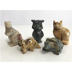 【ミニ動物 アニマルの置物5点セット】T03 天然石 ソープストーンのお守り 動物の形したミニチュア ハンドメイド彫刻 ペルー製